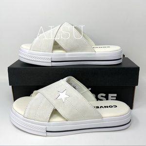 Converse One Star Women's Sandal Slip Suede Egret